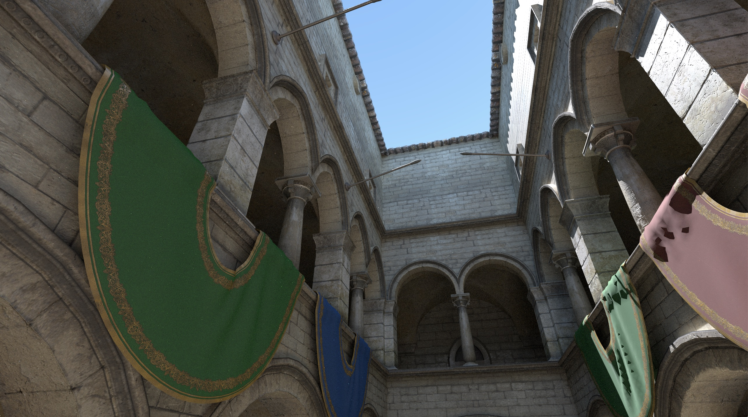Sponza rendered from the same perspective by a path tracer